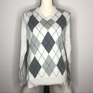 💥 Express Gray Argyle V-Neck Sweater in Sz S